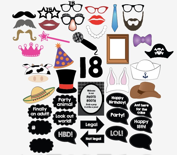 photograph relating to Free Printable Photo Booth Props Birthday identify 18th birthday photograph booth props PRINTABLE 18 bash photobooth eighteenth