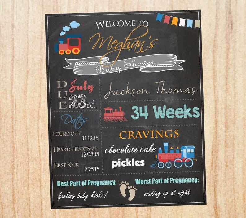 welcome sign PRINTABLE baby shower Train chalkboard Train Baby Shower Sign DIGITAL Train baby shower decorations Train baby shower game