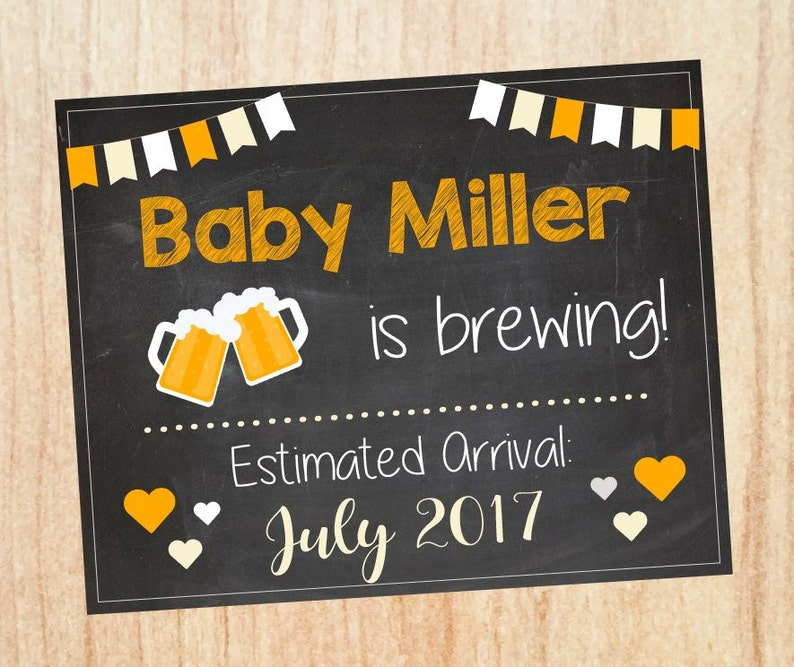 Beer Pregnancy Announcement sign  PRINTABLE brewing new baby chalkboard  photo prop chalkboard digital instant download brew