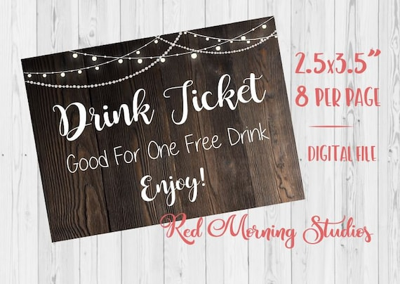 Wedding Drink Ticket Printable Rustic Wedding Free Drink Tickets Digital Instant Download Good For One Free Drink Enjoy Bar Ticket