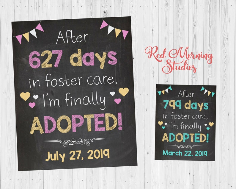 PRINTABLE Adoption Announcement sign for girl days in foster care custom personalized chalkboard adoption day poster