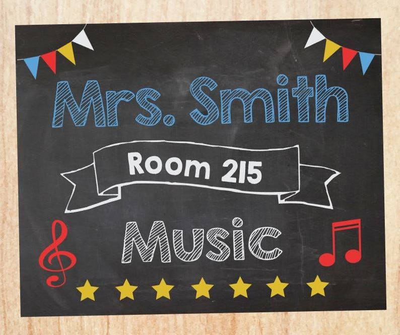 Music Teacher Classroom Door Sign Printable Music Teacher Etsy