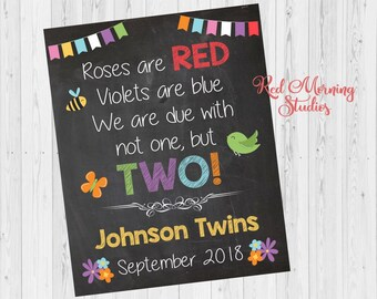 Spring Twins Announcement sign. Spring twins Pregnancy reveal poster. new babies. roses are red. due with two. twins. maternity photo prop