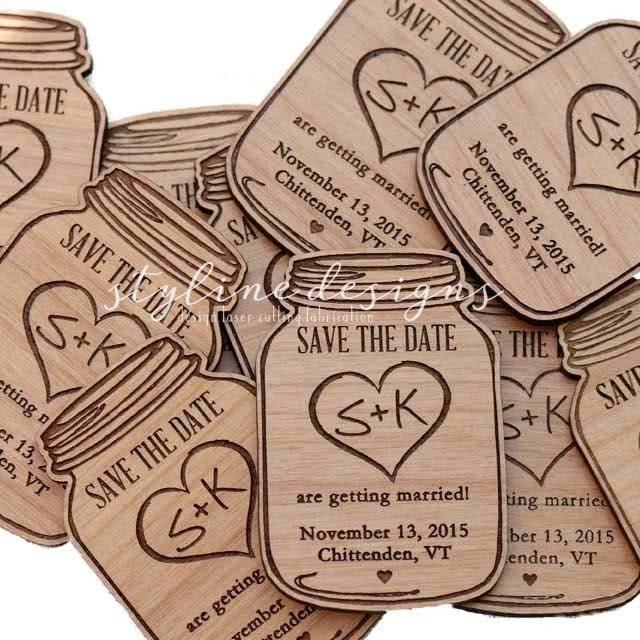 50 mason jar wood save the date magnets wedding favor