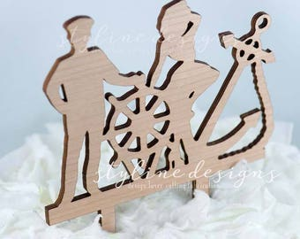 Ship Captain and Girl Cake Topper - Couple Event Beach Cake Topper