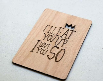 I'll Eat you up I love you So- Anniversary or Valentines Day Wood Laser-Cut Card