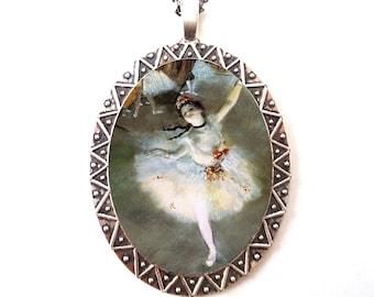 Degas Ballerina Necklace Pendant Silver Tone - Fine Art Painting Ballet Dancer Dancing