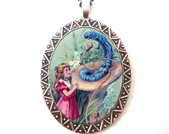 Alice in Wonderland Necklace Pendant Silver Tone - Hookah Smoking Caterpillar Lewis Carroll