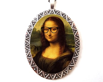 Mona Lisa Nerd Necklace Pendant Silver Tone - Leonardo Da Vinci Pop Surrealism Art