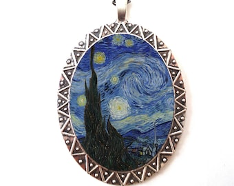 A Starry Night Necklace Pendant Silver Tone - Vincent Van Gogh Painting Fine Art Impressionism