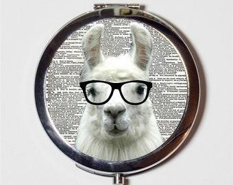 Llama Nerd Compact Mirror - Anthropomorphic Animal with Eyeglasses Pop Art Hipster - Make Up Pocket Mirror for Cosmetics