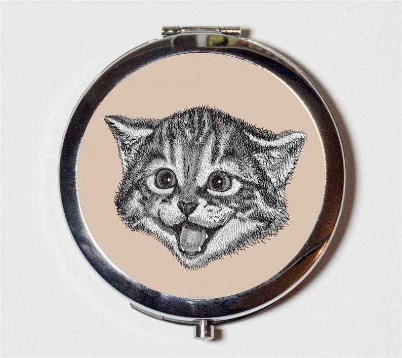 Happy Cat Compact Mirror - Kawaii Animal Pop Art - Make Up Pocket Mirror  for Cosmetics
