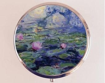 Claude Monet Lilies Pill Box Case Pillbox Holder Trinket Stash Box Lily Flowers Flower Fine Art Impressionism