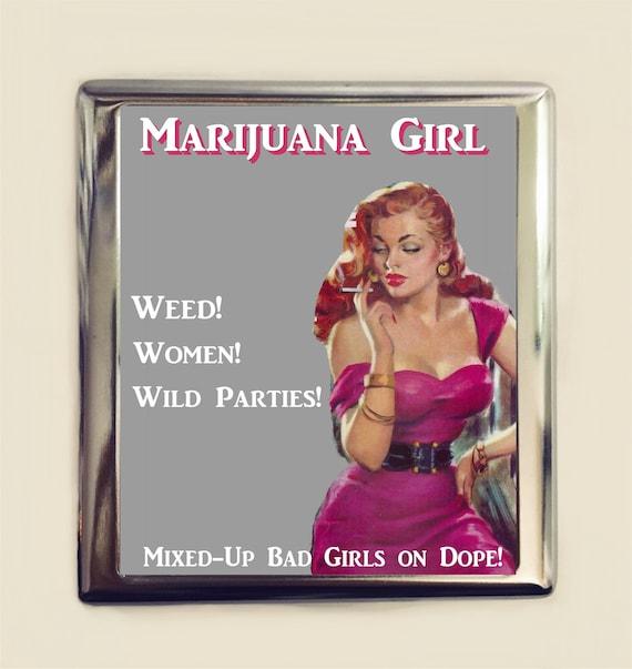 La Marijuana Girl Etui A Cigarettes En Carte De Visite ID