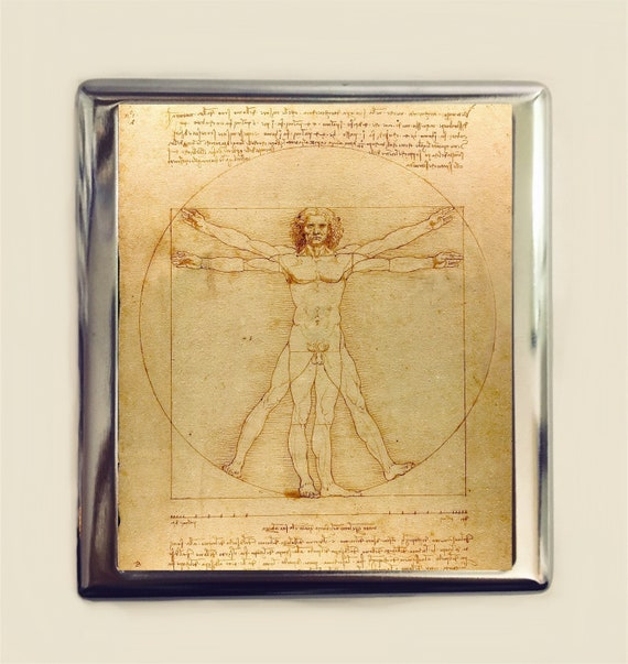 Vitruvian man cigarette case business card id holder wallet reheart Image collections