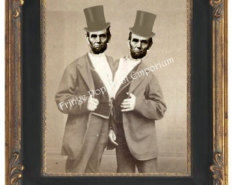 Victorian Sideshow Abraham Lincoln Art Print 8 x 10 - Circus Freak - Altered Art Abraham Lincoln - Siamese Twins