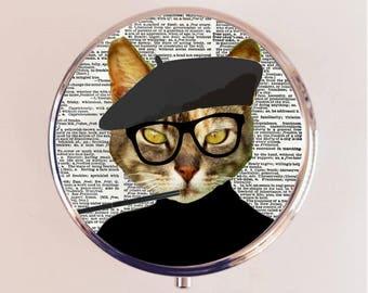Beatnik Cat Pill Box Case Pillbox Holder Trinket Stash Box Beat Generation Kitten Anthropomorphic Animal