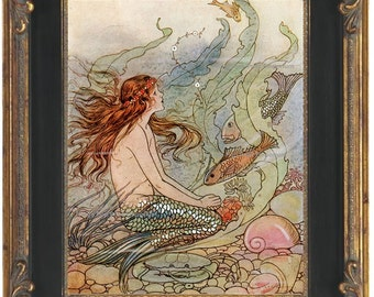 Fantasy Mermaid Art Print 8 x 10 - Art Deco Nouveau Storybook Nautical Siren Mermaids Ocean Beach House Wall Art Whimsical