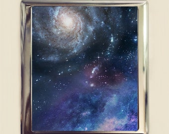 Outerspace Cigarette Case Business Card ID Holder Universe Outer Space Stars Celestial