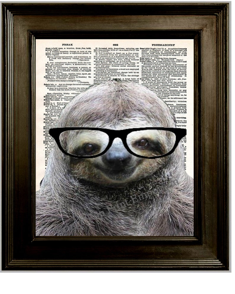 804ab0881c Sloth Nerd Glasses Art Print 8 x 10 Dictionary Page Sloth | Etsy