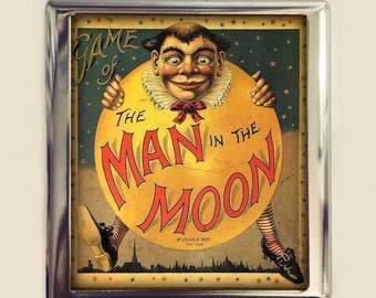 Man in the Moon Cigarette Case Business Card ID Holder Wallet Victorian Board Game Nursery Rhyme