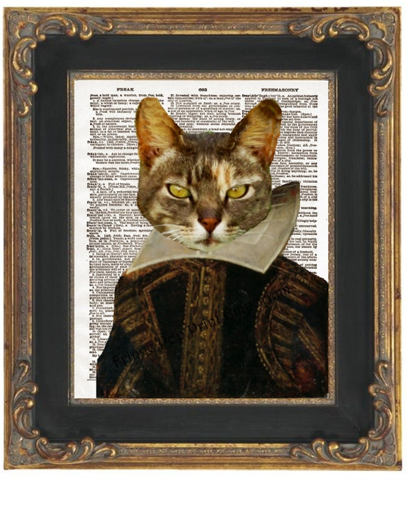 Shakespeare Cat Art Print 8 X 10 Dictionary Page Kitty As