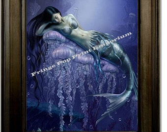 Mermaid Art Print 8 x 10 - Contemplative Siren Under the Sea - Blue