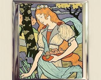 Art Nouveau Redhead Cigarette Case Business Card ID Holder Wallet Pastoral Landscape Woman