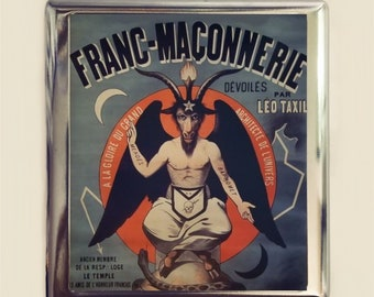 French Baphomet Cigarette Case Business Card ID Holder Wallet Occult Magick