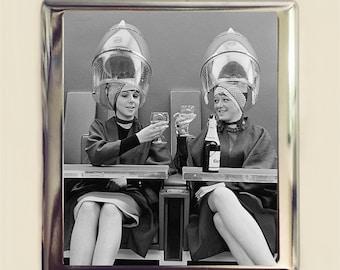 Retro Hair Cigarette Case Business Card ID Holder Wallet Kitsch 1950's Stylist Drinking Wine