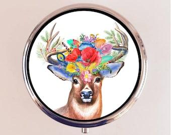 Floral Deer Pill Box Case Pillbox Holder Trinket Stash Box Buck Flowers Flower Stag Woodland Creature
