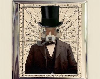 Squirrel Man Cigarette Case Business Card ID Holder Wallet Victorian Steampunk Anthropomorphic Animal Art