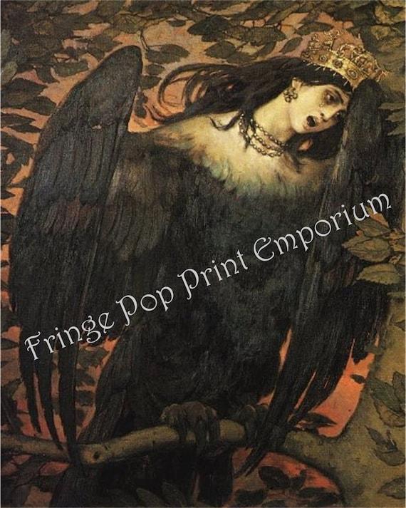 f4b6bae9 Raven Woman in Agony Art Print 8 x 10 - Horror Art - Goth - Dark Fine Art