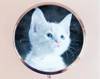 Kawaii Cat Pill Box Case Pillbox Holder Trinket Stash Box Adorable White Kitten