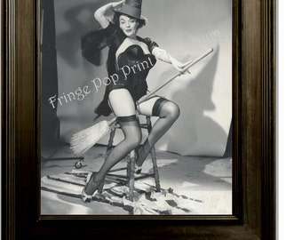Gil Elvgren Pin Up Girl Art Print 8 x 10 - Painting Reference Photo - Witch on Broom - Pinup
