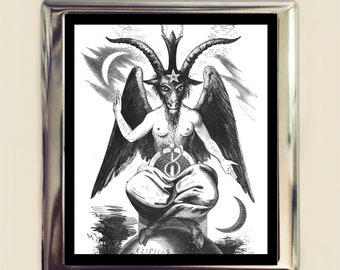 White Baphomet Cigarette Case Business Card ID Holder Wallet Occult Magick