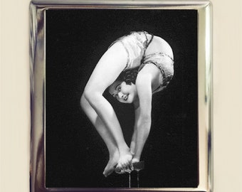Flapper Contortionist Cigarette Case Business Card ID Holder Wallet Art Deco 1920s Jazz Age Circus Freak Sideshow