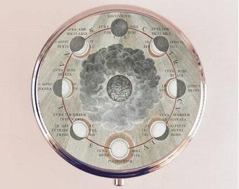 Moon Phases Pill Box Case Pillbox Holder Trinket Stash Box Antique Astronomy Alchemy Lunar