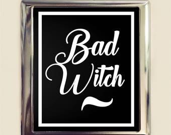 Bad Witch Cigarette Case Business Card ID Holder Wallet Witchcraft Witchy Magick Goth Dark Art
