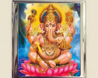 Ganesh Ganesha Cigarette Case Business Card ID Holder Wallet Hindu Elephant God Spiritual Hinduism Spirituality