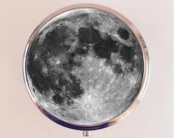 Moon Pill Box Case Pillbox Holder Trinket Stash Box Full Moon