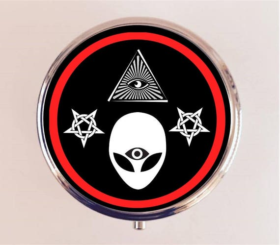 Illuminati Alien pilule boîte pilulier étui porte Stash boîte de bibelot tout œil occulte troisième œil Trippy psychédélique