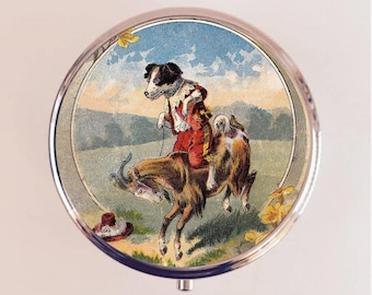 Dog Riding Goat Pill Box Case Pillbox Holder Trinket Stash Box Oddity Anthropomorphic Animal Art