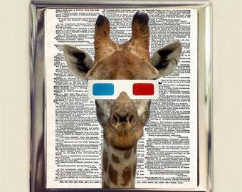 Giraffe 3D Glasses Cigarette Case Business Card ID Holder Wallet Anthropomorphic Animal Pop Surrealism Art