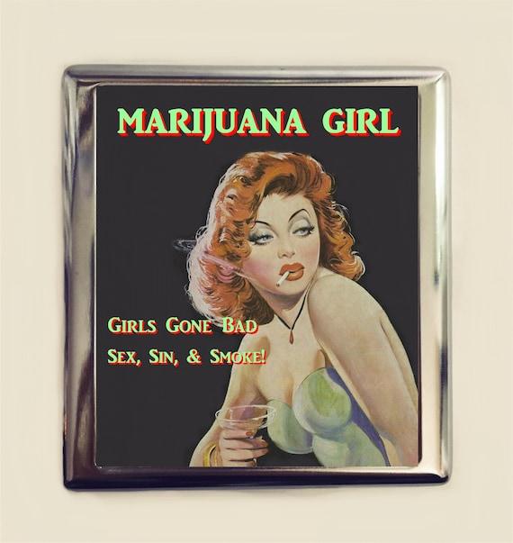La Marijuana Fille Etui A Cigarettes En Carte De Visite ID