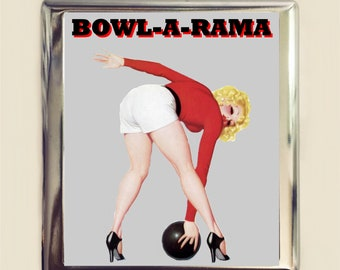 Bowling Pin Up Cigarette Case Business Card ID Holder Bowl-A-Rama Pinup Girl Retro 1950s Bowler