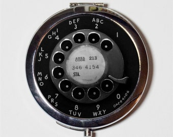 Rotary Telephone Compact Mirror - Vintage Technology Phone - Make Up Pocket Mirror for Cosmetics