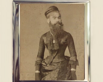 Bearded Lady Cigarette Case Business Card ID Holder Wallet Sideshow Circus Freak Victorian Medical Oddity