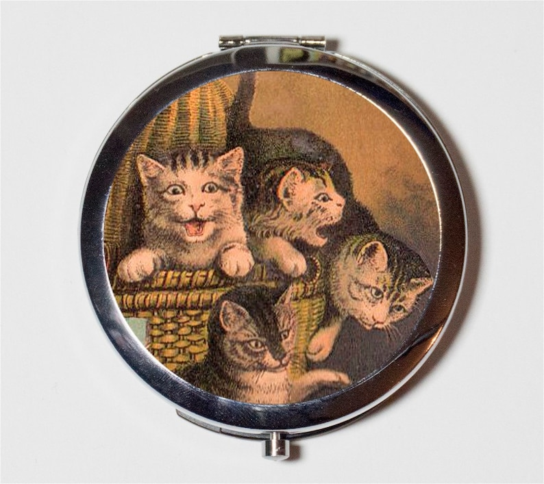 Four Cats Compact Mirror - Vintage Storybook Children's Illustration - Make  Up Pocket Mirror for Cosmetics
