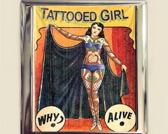 Tattooed Girl Cigarette Case Business Card ID Holder Wallet Sideshow Banner Circus Freak Tattoo Retro
